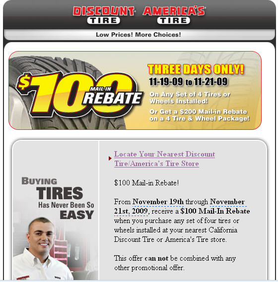 At Discount Tire, when you buy a new set of tires, you can save big money by keeping them properly inflated. This helps keep the wear even, which will help keep them on your car longer! Get air pressure checked regularly and save money on tires. $ Cooper Tire Rebate/5(7).